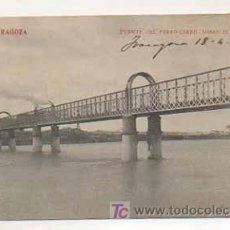 Postales: ZARAGOZA. PUENTE DEL FERROCARRIL SOBRE EL EBRO. (ED. MADRIGUERA). Lote 13482536