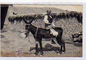 ZARAGOZA. CAMINO DEL CAMPO. TIPO POPULAR. 1212 FOTOTIPIA THOMAS. SIN CIRCULAR. BURRO. (Postales - España - Aragón Antigua (hasta 1939))