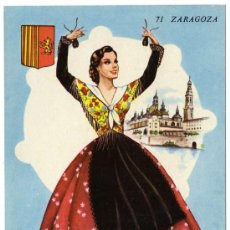 Postales: BONITA POSTAL - ZARAGOZA - MUJER BAILANDO CON TRAJE REGIONAL - EL PILAR. Lote 24657158