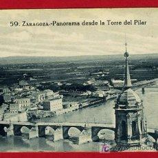 Postales: ZARAGOZA, PANORAMA DESDE LA TORRE DEL PILAR, P40001. Lote 15435122