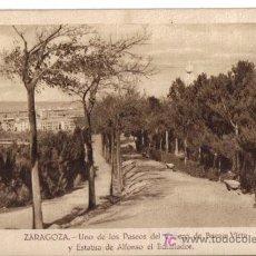 Postales: ZARAGOZA, UNO DE LOS PASEOS DE CABEZO DE BUENAVISTA Y ESTATUA DE AFONSO EL BATALLADOR. . Lote 25505826