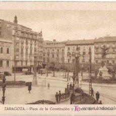 Postales: ZARAGOZA, PLAZA DE LA CONSTITUCION Y ESTATUA DE LOS MARTIRES. Lote 25862436