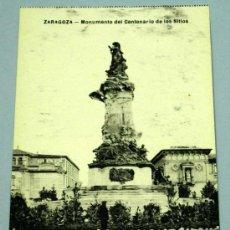 Postales: POSTAL ZARAGOZA MONUMENTO DEL CENTENARIO DE LOS SITIOS. Lote 16044661