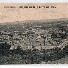 Postales: TARJETA POSTAL DE ZARAGOZA.PANORAMA DESDE LA TORRE DEL PILAR. Lote 17734622