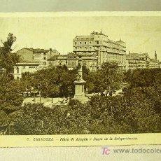 Postales: ANTIGUA FOTO, POSTAL, ZARAGOZA, PLAZA DE ARAGON Y PASEO DE LA INDEPENDENCIA, Nº 6.. Lote 17898838