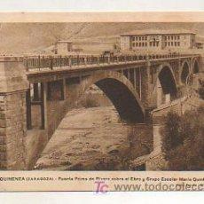 MEQUINENZA (ZARAGOZA). PUENTE PRIMO DE RIVERA SOBRE EL EBRO Y GRUPO ESCOLAR. (FOTO: FARRAN - OLALDE)