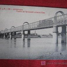 Postales: ZARAGOZA - PUENTE DEL FERROCARRIL SOBRE EL EBRO. Lote 18031138