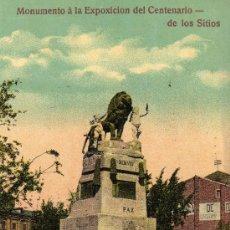Postales: POSTAL FOTOGRAFICA DE ZARAGOZA SIN CIRCULAR,MONUMENTO A LA EXPOSICION DEL CENTENARIO DE LOS SITIOS. Lote 20453644