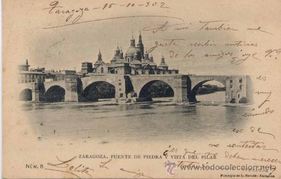 ZARAGOZA.-PUENTE DE PIEDRA Y VISTA DEL PILAR (Postales - España - Aragón Antigua (hasta 1939))
