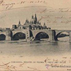 Postales: ZARAGOZA.-PUENTE DE PIEDRA Y VISTA DEL PILAR. Lote 20120464
