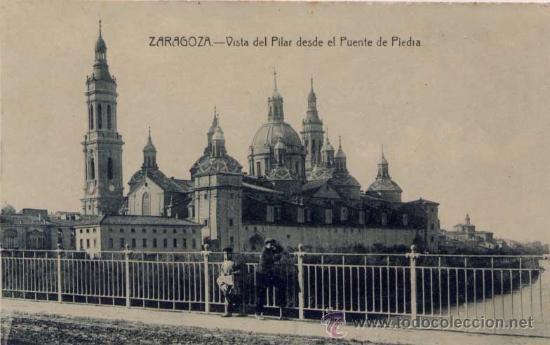 ZARAGOZA.- VISTA DEL PILAR DESDE EL PUENTE DE PIEDRA (Postales - España - Aragón Antigua (hasta 1939))
