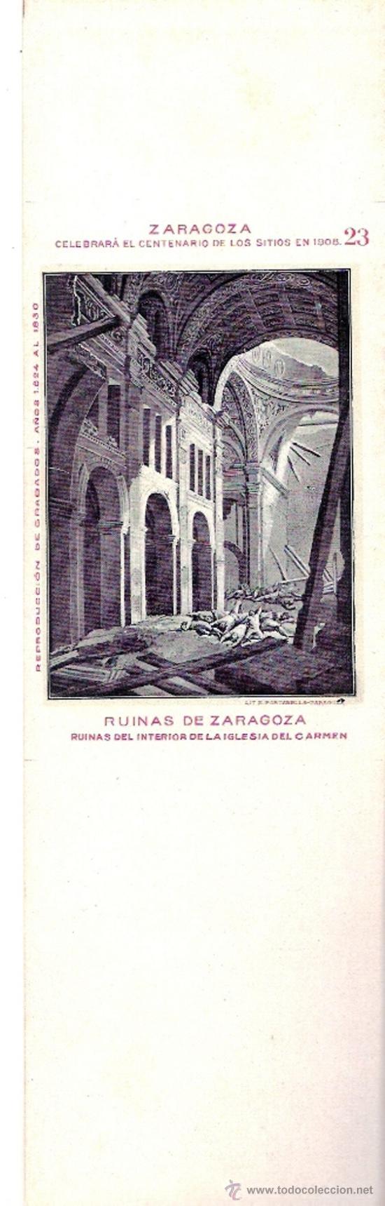 TARJETA POSTAL DE ZARAGOZA. CENTENARIO DE LOS SITIOS 1908. Nº 23. RUINAS DE ZARAGOZA. (Postales - España - Aragón Antigua (hasta 1939))
