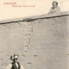 Postales: POSTAL ZARAGOZA- HABLANDO CON LA NOVIA- NIÑOS- MANUSCRITA Y CIRCULADA 1917 EDIFIL 269 ED. THOMAS . Lote 27561758