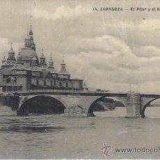 Postales: PS2679 ZARAGOZA 'EL PILAR Y EL RÍO EBRO'. COL. M. A. CIRCULADA EN 1918. Lote 25551878