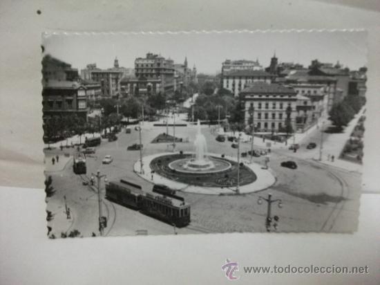+. ZARAGOZA. AÑOS 50 PLAZA PARAISO. TRANVIA 56 Y 115 TRANVIAS (Postales - España - Aragón Moderna (desde 1.940))