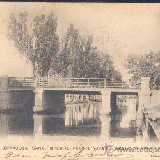Postales: ZARAGOZA.- CANAL IMPERIAL. PUENTE NUEVO LLAMADO DE AMÉRICA. Lote 26722081