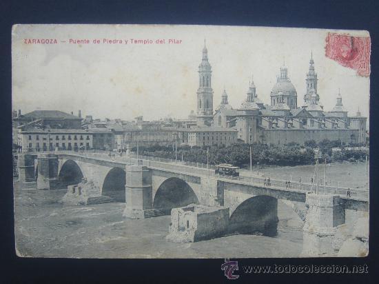 """""""ZARAGOZA- PUENTE DE PIEDRA Y T. PILAR"""". CIRCULADA, ESCRITA Y SELLO 10 CTS DE ALFONSO XIII (28-2-12 (Postales - España - Aragón Antigua (hasta 1939))"""