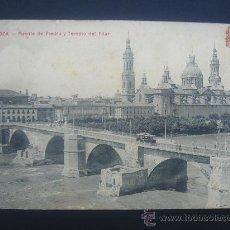 """Postales: """"ZARAGOZA- PUENTE DE PIEDRA Y T. PILAR"""". CIRCULADA, ESCRITA Y SELLO 10 CTS DE ALFONSO XIII (28-2-12. Lote 27117528"""