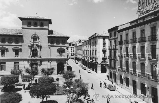 POSTAL HUESCA PLAZA NAVARRA Y PORCHES GALICIA (Postales - España - Aragón Moderna (desde 1.940))