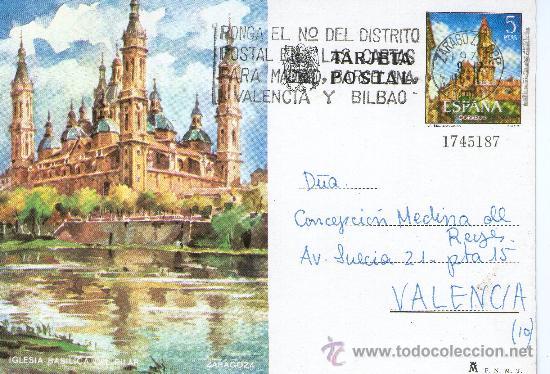 BUENA TARJETA POSTAL - POSTAL DE ZARAGOZA - IGLESIA BASILICA DEL PILAR (Postales - España - Aragón Moderna (desde 1.940))