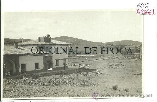(PS-23661)POSTAL FOTOGRAFICA DE ENCINACORBA(ZARAGOZA)-CONSTRUCCION ESTACION DE FERROCARRIL (Postales - España - Aragón Antigua (hasta 1939))