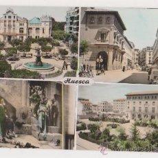 Postales: HUESCA PLAZA NAVARRA,PORCHES DE GALICIA,CAMPANA DE HUESCA Y PLAZA DE MIGUEL DE CERVANTES. Lote 28472699