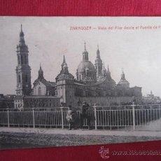 Postales: ZARAGOZA - VISTA DEL PILAR DESDE EL PUENTE DE PIEDRA. Lote 30086290
