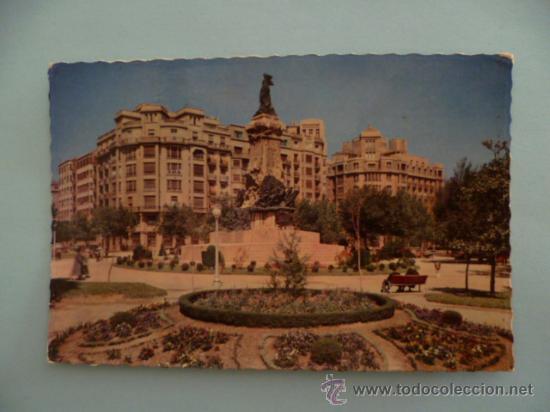 POSTAL; ZARAGOZA , MONUMENTO A LOS SITIOS, ESCRITA SIN SELLO, AÑO 1958 (Postales - España - Aragón Moderna (desde 1.940))