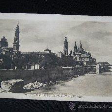 Postales: POSTAL 30. LA RIBERA, LA SEO Y EL PILAR. ZARAGOZA. AÑO 1943.. Lote 31891371