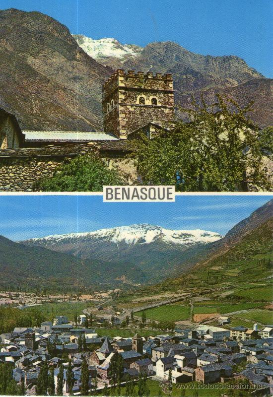 POSTAL DE BENASQUE I - TORREON CASA YUSTE, II - VISTA GENERAL (Postales - España - Aragón Moderna (desde 1.940))