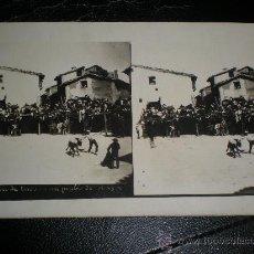 Postales: TARJETA POSTAL FOTOGRAFIA VILLAFRANCA O CAPARROS - CORRIDA DE TOROS EN UN PUEBLO DE ARAGON ZARAGOZA. Lote 32166970