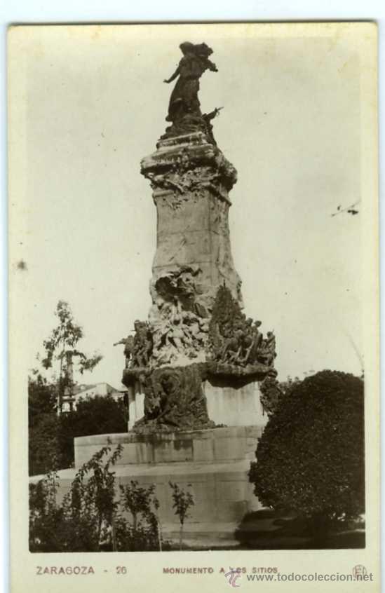 POSTAL ZARAGOZA MONUMENTO A LOS SITIOS (Postales - España - Aragón Moderna (desde 1.940))