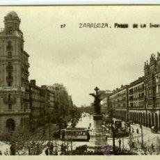 Postales: POSTAL ZARAGOZA PASEO DE LA INDEPENDENCIA. Lote 33497610