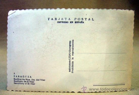 Postales: POSTAL, FOTO POSTAL, TROQUELADA, ZARAGOZA, BASILICA DEL PILAR, LUJO - Foto 2 - 35460312