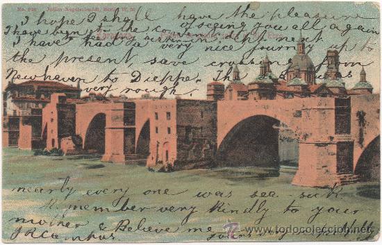 ZARAGOZA.- PUENTE DE PIEDRA SOBRE EL RÍO EBRO. (C.1900). (Postkarten - Spanien - Altes Aragon (bis 1939))