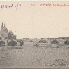 Postales: ZARAGOZA.- RÍO EBRO Y PUENTE DE PIEDRA. (C.1910).. Lote 35558518
