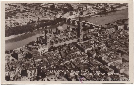 ZARAGOZA.- EL PILAR DESDE AVIÓN. (C.1930). CON CORRESPONDENCIA ESCRITA EN ESPERANTO. (Postales - España - Aragón Antigua (hasta 1939))