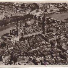 Postales: ZARAGOZA.- EL PILAR DESDE AVIÓN. (C.1930). CON CORRESPONDENCIA ESCRITA EN ESPERANTO.. Lote 35918008
