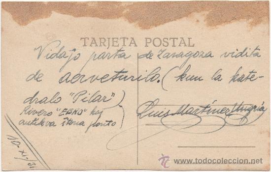 Postales: ZARAGOZA.- EL PILAR DESDE AVIÓN. (C.1930). CON CORRESPONDENCIA ESCRITA EN ESPERANTO. - Foto 2 - 35918008
