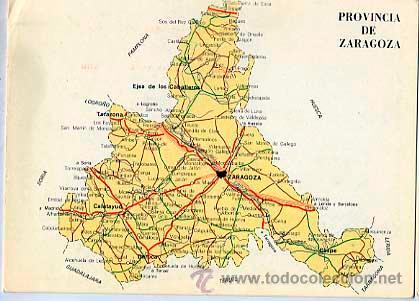 Mapa Provincia De Zaragoza.Postal Publicitaria Mapa Provincia De Zaragoza Reverso Publicidad De Farmacia Tebetane Circulada
