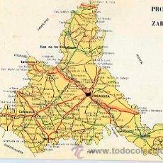 Postales: POSTAL PUBLICITARIA. MAPA PROVINCIA DE ZARAGOZA. REVERSO PUBLICIDAD DE FARMACIA TEBETANE. CIRCULADA. Lote 35984381