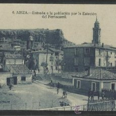 Postales: ARIZA - 6 - ENTRADA A LA POBLACION POR LA ESTACION DEL FERROCARRIL - (13.600). Lote 36128703