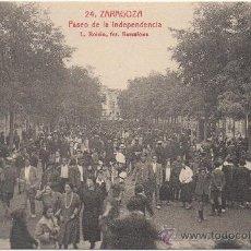 Postales: ZARAGOZA.- PASEO DE LA INDEPENDENCIA.- EDICIÓN L. ROISIN, FOTÓGRAFO, NÚM. 24.. Lote 36129475