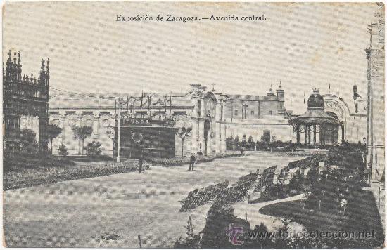 EXPOSICIÓN DE ZARAGOZA.- AVENIDA CENTRAL. (1.908). (Postales - España - Aragón Antigua (hasta 1939))
