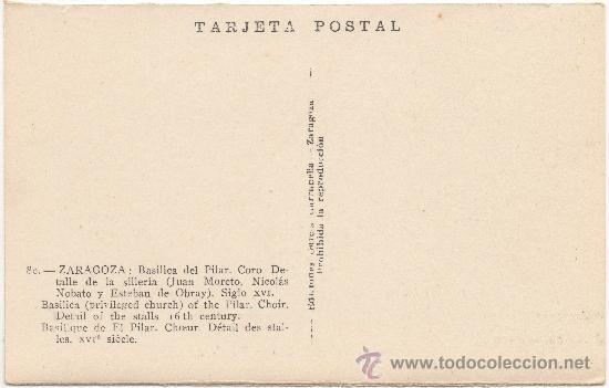 Postales: ZARAGOZA.- BASÍLICA DEL PILAR. CORO DETALLE DE LA SILLERÍA. SIGLO XVI. - Foto 2 - 36227644