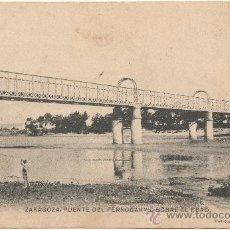 Postales: ZARAGOZA.- PUENTE DEL FERROCARRIL SOBRE EL EBRO.. Lote 36463036