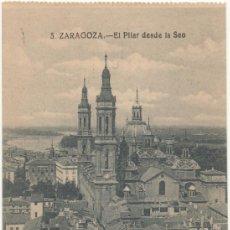 Postales: ZARAGOZA.- EL PILAR DESDE LA SEO.. Lote 36842250
