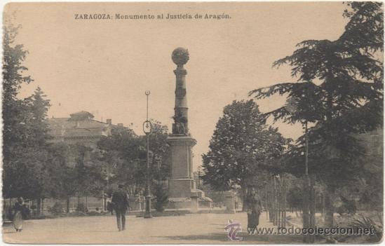 ZARAGOZA.- MONUMENTO AL JUSTICIA DE ARAGÓN. (Postales - España - Aragón Antigua (hasta 1939))