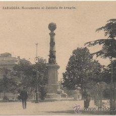 Postales: ZARAGOZA.- MONUMENTO AL JUSTICIA DE ARAGÓN.. Lote 36856796