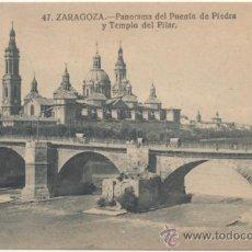 Postales: ZARAGOZA.- PANORAMA DEL PUENTE DE PIEDRA Y TEMPLO DEL PILAR.. Lote 36949987